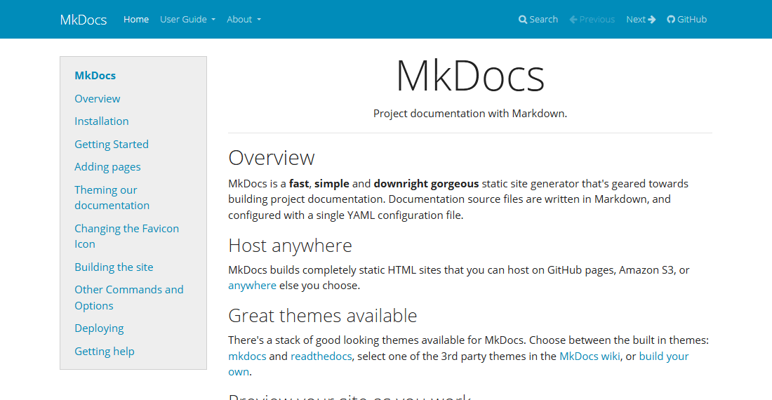 MkDocs Bootswatch Themes
